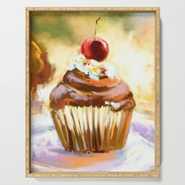 Cupcake with cherry Serving Tray