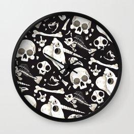 black Skulls and Bones - Wunderkammer Wall Clock