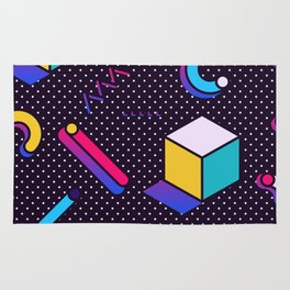 Bright Background in Neo Memphis Style Rug