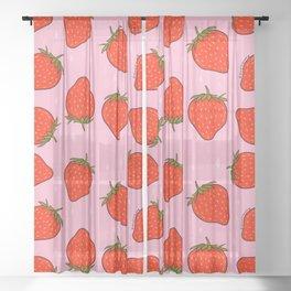 Strawberry Print Sheer Curtain