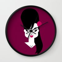 amy hamilton Wall Clocks featuring Amy by Marco Recuero