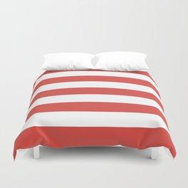 Strawberry Daiquiri - solid color - white stripes pattern Duvet Cover