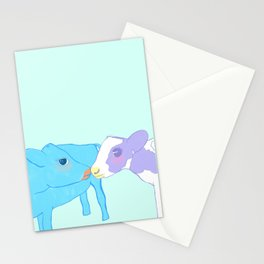 Cow kissing on a pastel background Stationery Cards