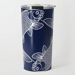Navy Blue Koi Travel Mug
