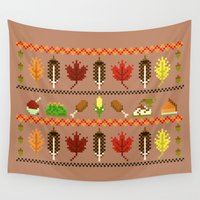 thanksgiving Wall Tapestries featuring Ugly Thanksgiving Sweater by Art by Ash