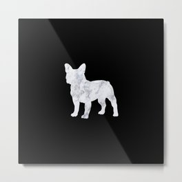 French bulldog marble noir Metal Print