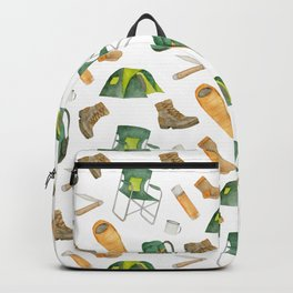Watercolor camping pattern Backpack
