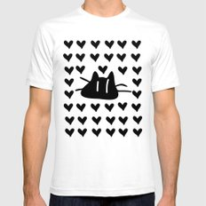 LOVE LOVE CAT Mens Fitted Tee SMALL White
