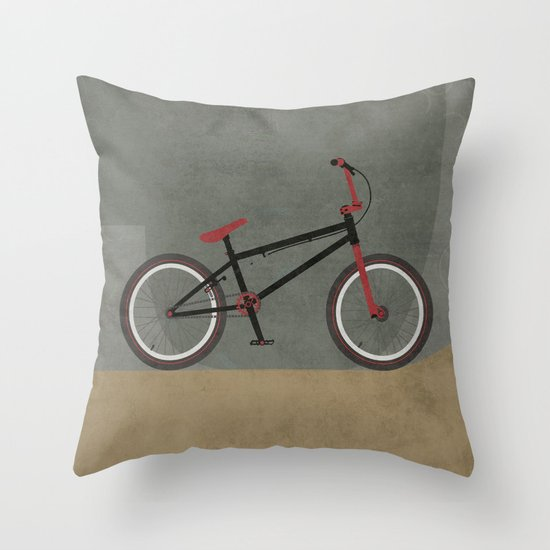 Bicycle Print Throw Pillow : BMX Bike Throw Pillow by Wyatt Design Society6