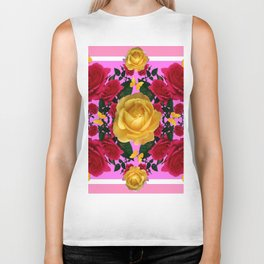 RED-YELLOW ROSES & YELLOW BUTTERFLIES ART Biker Tank