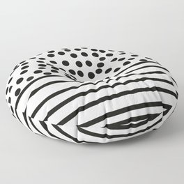 Spots and stripes, monochrome pattern Floor Pillow