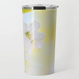 Macro shot of blooming apple tree over yellow background Travel Mug