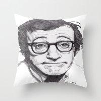 woody allen Throw Pillows featuring Woody Allen by Paul Nelson-Esch Art
