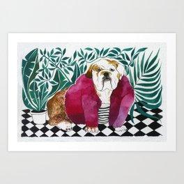 Boris, the English Bulldog wearing pink fur coat Art Print