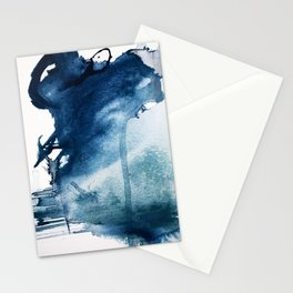 Pacific Grove: a pretty minimal abstract piece in blue by Alyssa Hamilton Art Stationery Cards