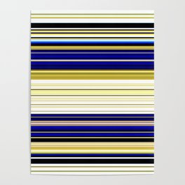 Bright Blue and Gold Boldin Stripes Poster
