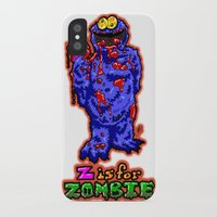 sesame street iPhone & iPod Cases featuring Z IS FOR ZOMBIE!  Everyone's favorite Muppet from Sesame Street:  Cookie Monster...  THE ZOMBIE! by beetoons