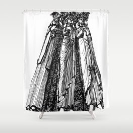 power of three Shower Curtain