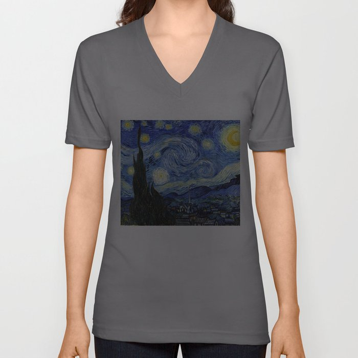Starry Night by Vincent Van Gogh Unisex V-Ausschnitt