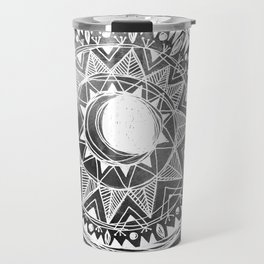 Grey Moon Mandala Travel Mug