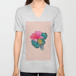Tropical Summer Watercolor Pink Green Yellow Floral Unisex V-Neck