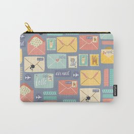 Retro styled pattern with letters and postcards Carry-All Pouch