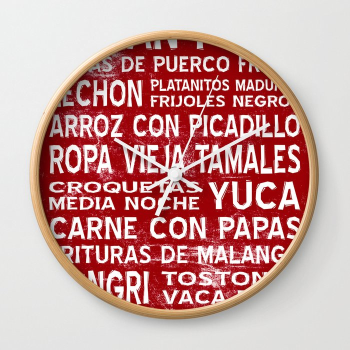 Cuban Food Word Food Art Poster (Red) Wall Clock by miguezart | Society6