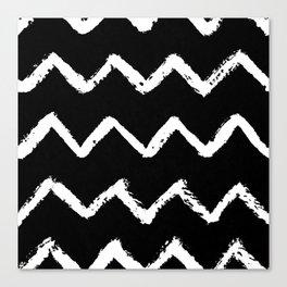 Chevron Stripes White on Black Canvas Print