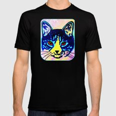 Pop Art Cat No. 2 Black MEDIUM Mens Fitted Tee