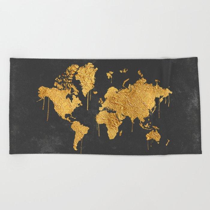 Gold World Map Beach Towel