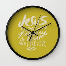 Hebrews 13: 8 x Mustard Wall Clock