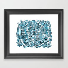 City Machine - Blue Framed Art Print