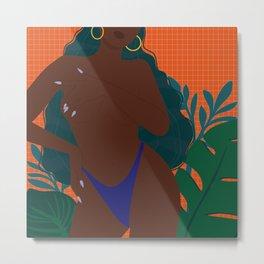 Handful // Woman, Femme, Feminine, Black, Melanin, Orange, Blue, Green, Cute, Plants Metal Print