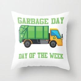 Garbage Day Truck Waste Disposal Dumpster Throw Pillow
