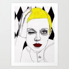 Girl with Yellow Hair Art Print