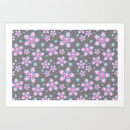 Pink flower pattern Art Print