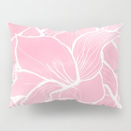 Modern white hand drawn abstrat floral pastel pink watercolor Pillow Sham