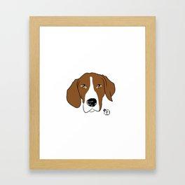 Hound Dog Face Framed Art Print