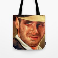 indiana jones Tote Bags featuring Indiana by Katie Arts