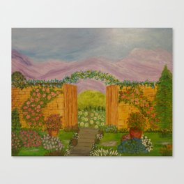 Beyond The Gate Acrylic Painting by Rosie Foshee Canvas Print