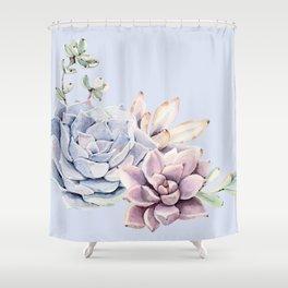 Pristine Blue Succulents Shower Curtain