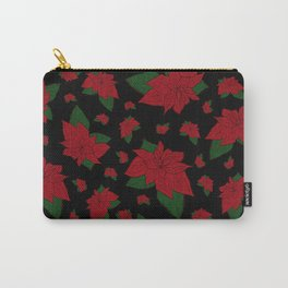 Poinsettia Black Carry-All Pouch