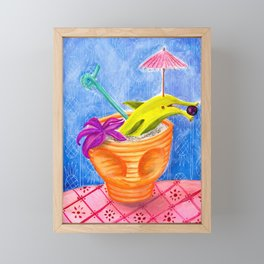 Tiki Drink no.2 with banana dolphin Framed Mini Art Print