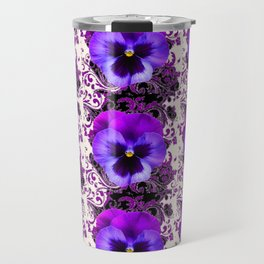 GARDEN ROWS OF PURPLE PANSY FLOWERS PATTERNS Travel Mug