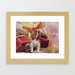 Ribbons, Bells And Cavalier King Charles Spaniel Framed Art Print