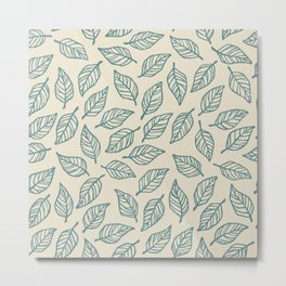 Light Leaf Pattern - Blue Metal Print