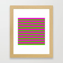 Hot Pink And Kelly Green Stripes Framed Art Print