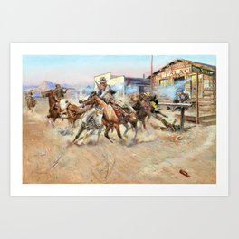 12,000pixel-500dpi - Smoke of a .45 - Charles Marion Russell Art Print