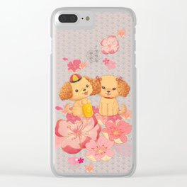 dog couple sweet sakura Clear iPhone Case