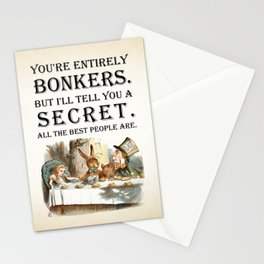 Alice In Wonderland -Colors- Tea Party - You're Entirely Bonkers - Quote Stationery Cards